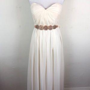 Soieblu full length strapless gown rhinestone belt